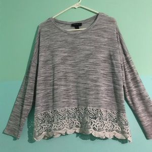 Grey Long-Sleeved Blouse with Crocheted Trim